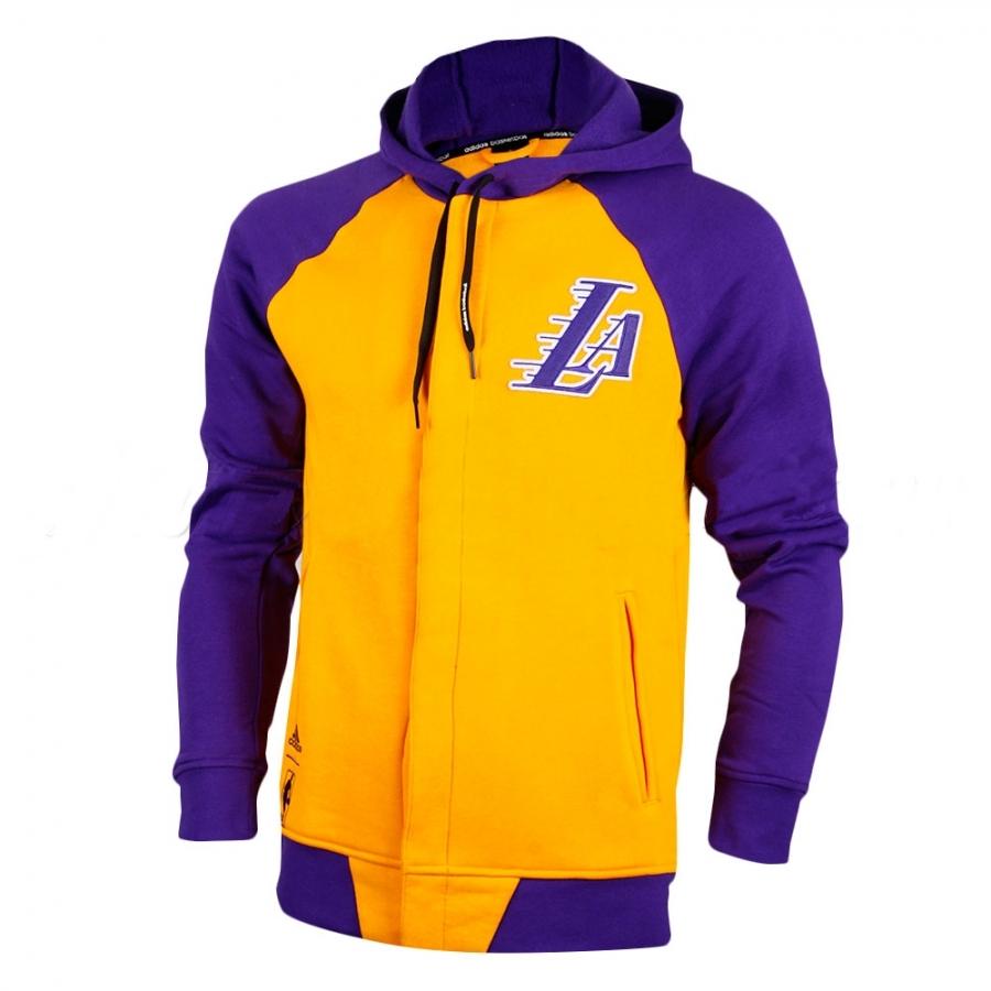 nueva estilos fotos oficiales más baratas Adidas Sudadera FZ Washed L.A Lakers (Amarillo/purpura)