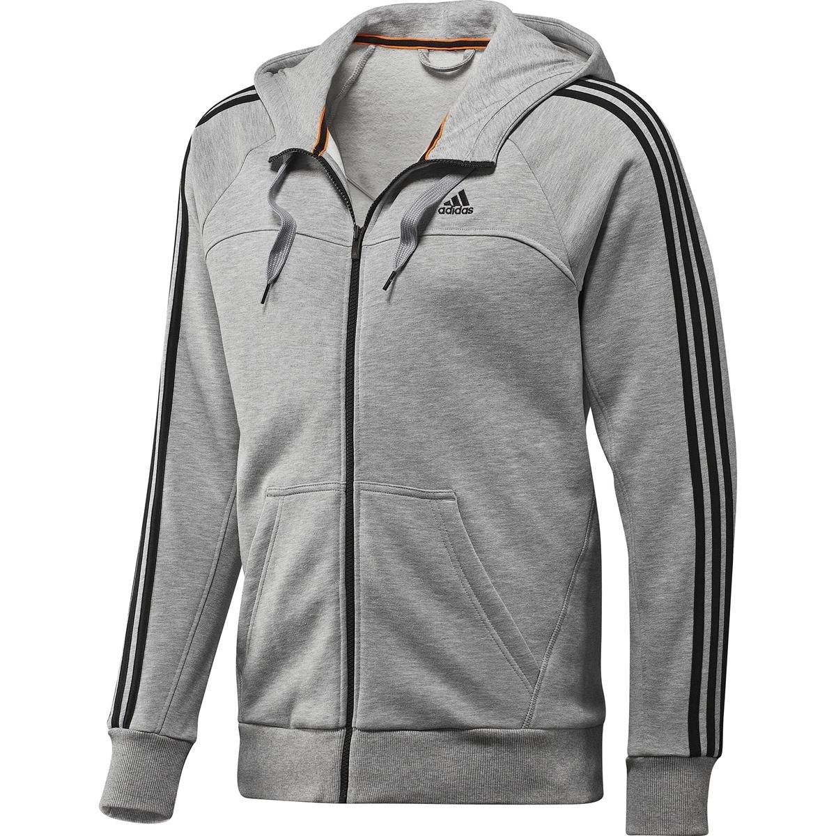 lo último f8749 f7e31 Adidas Sudadera Essential 3S FZ Ho (gris/negro)