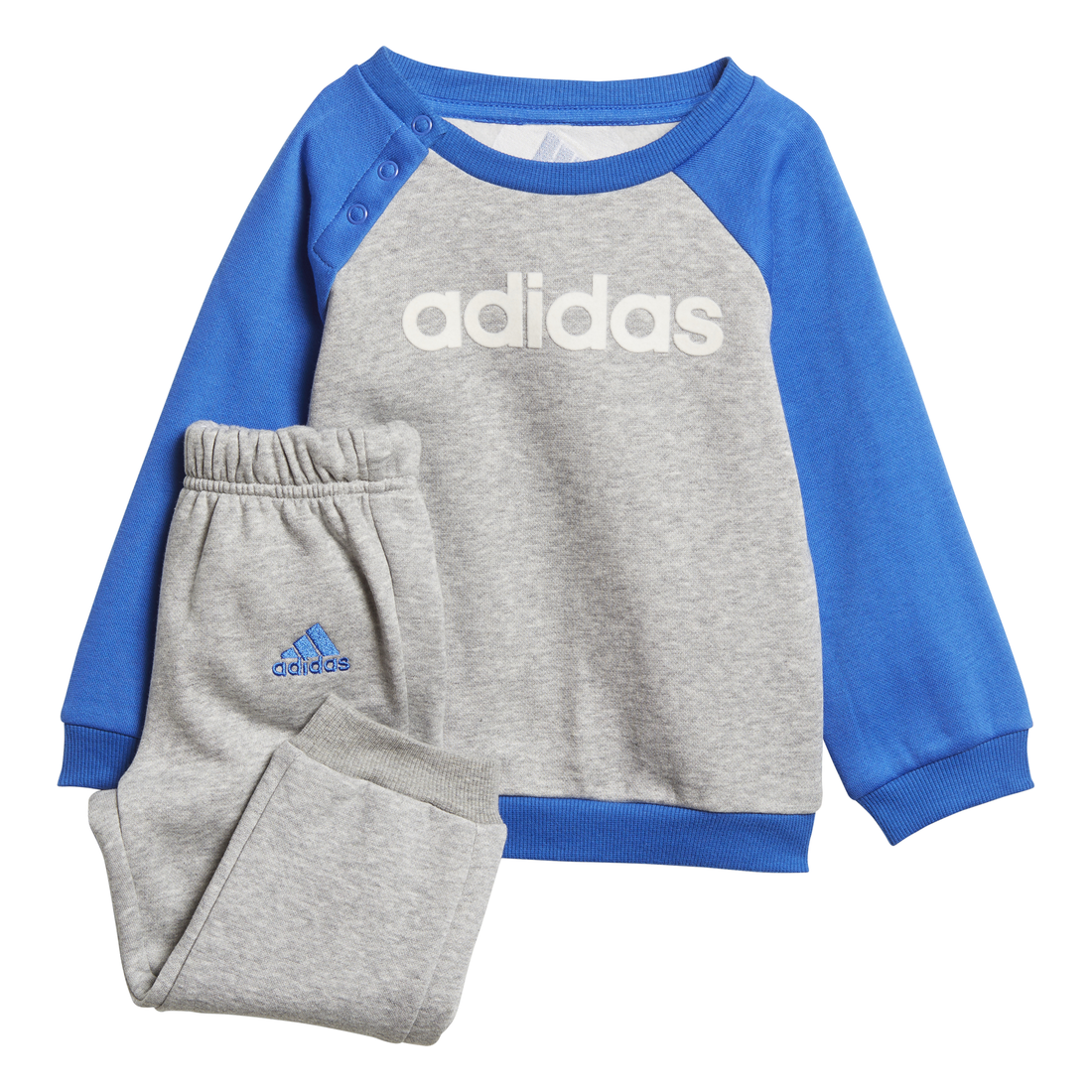 Adidas Linear Fleece Jogger Tracksuit Infants (Medium Grey Heather Blue) 81ba8a430976
