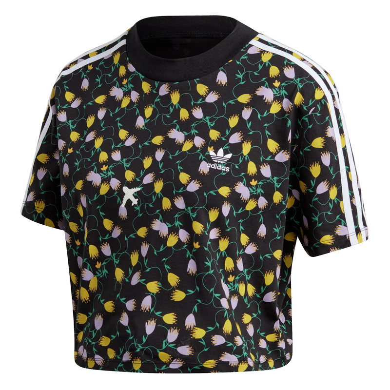 Herencia Seducir aprobar  Adidas Originals Allover Print Crop Top (Black)